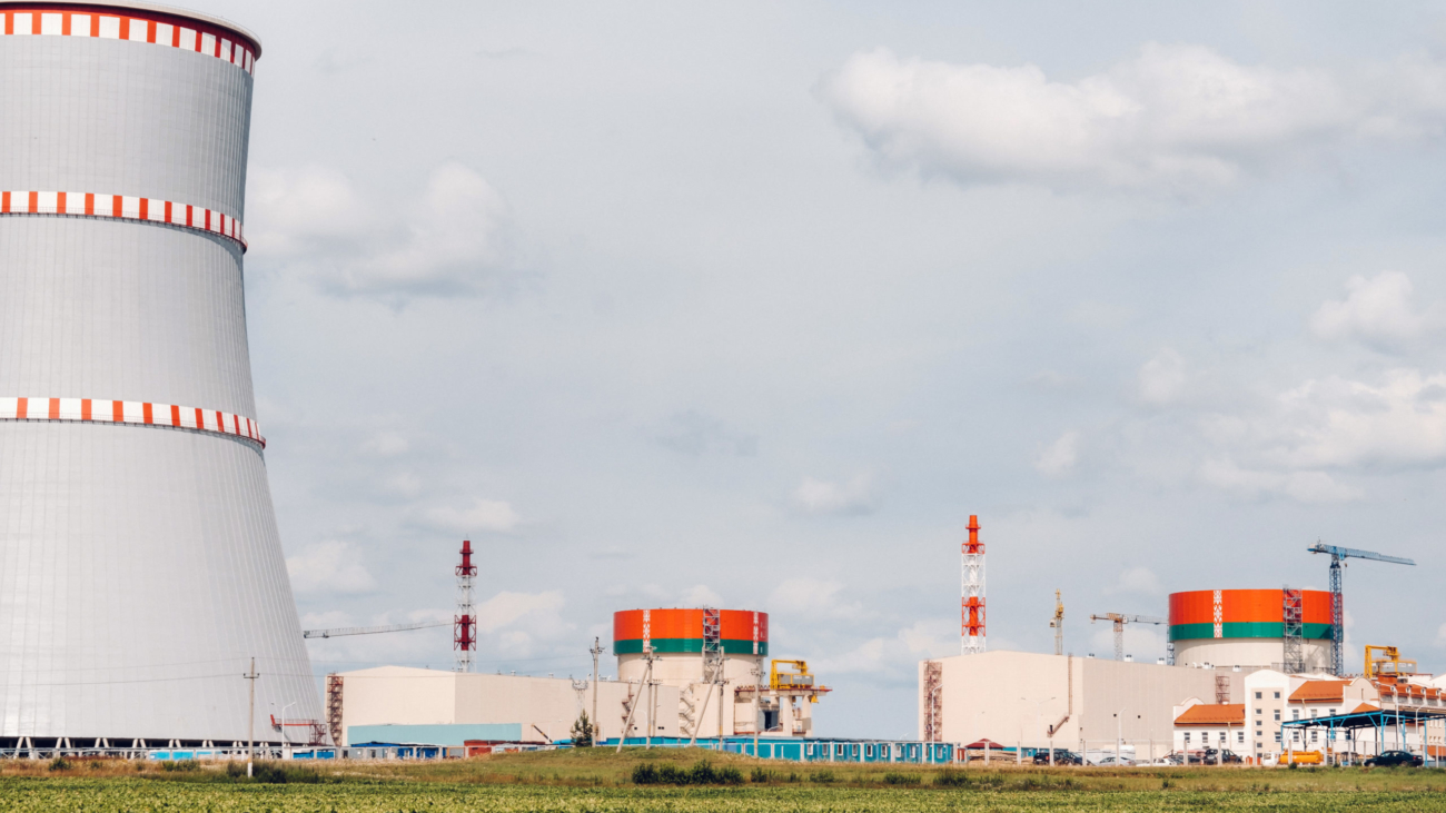 Belarusian nuclear power plant in Ostrovets district.Field around the nuclear power plant. Belarus.