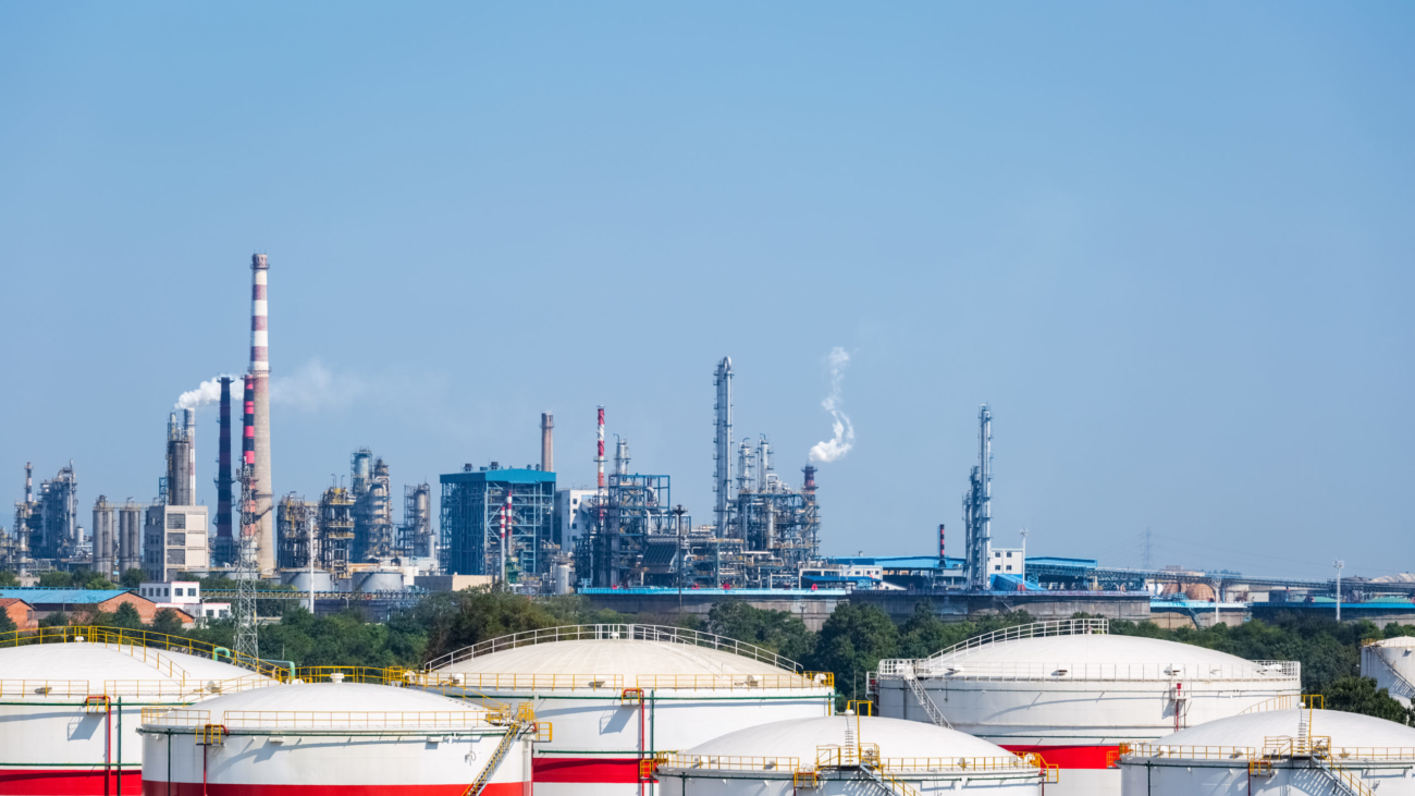 petrochemical complex and storage tanks, industrial landscape of oil refinery factory