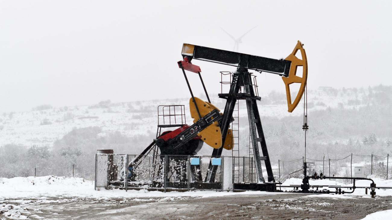winter landscape. Oil pumps. Oil industry equipment. Frosty Morning