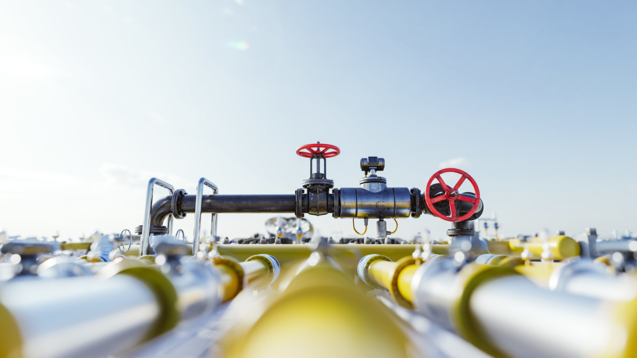 Gas tap with pipeline system at natural gas station. Industry