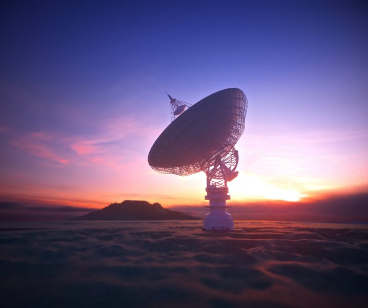 Huge satellite antenna dish for communication and signal reception out of the planet Earth. Observatory searching for radio signal in space at sunset. 3D illustration with clipping path included.