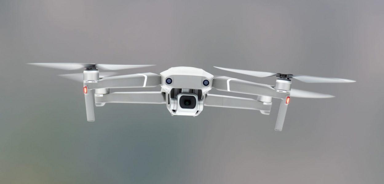 Close drone quadcopter with digital camera