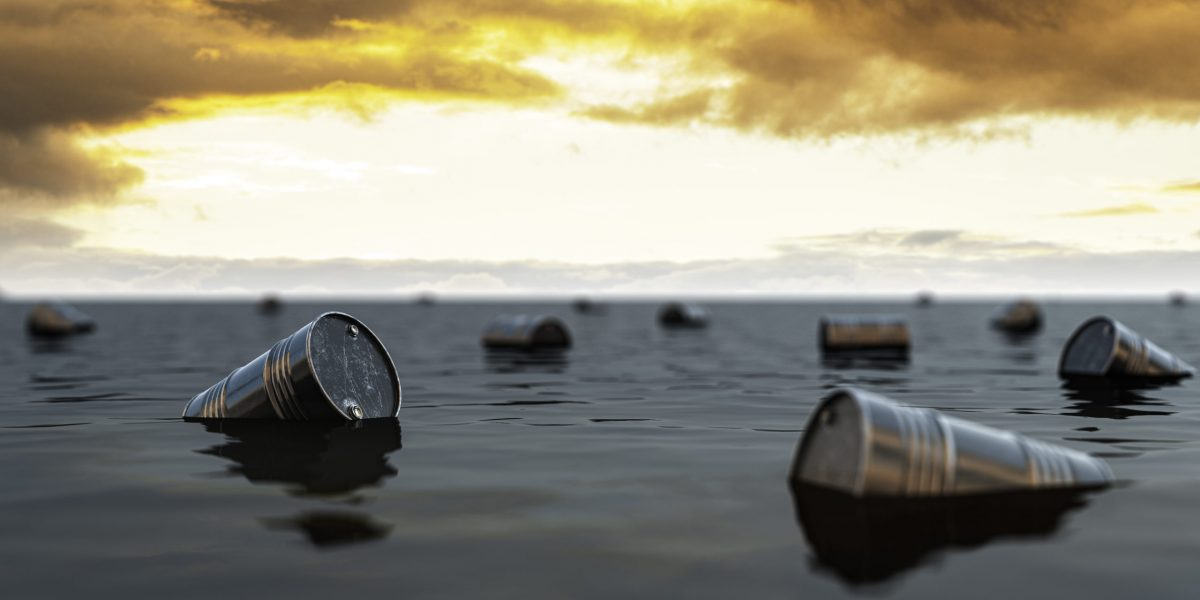 Oil barrels floating on the oil sea. Oil industry crisis concept. 3d illustration