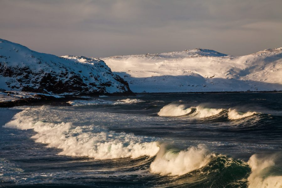 Storm in winter in the Arctic Ocean.