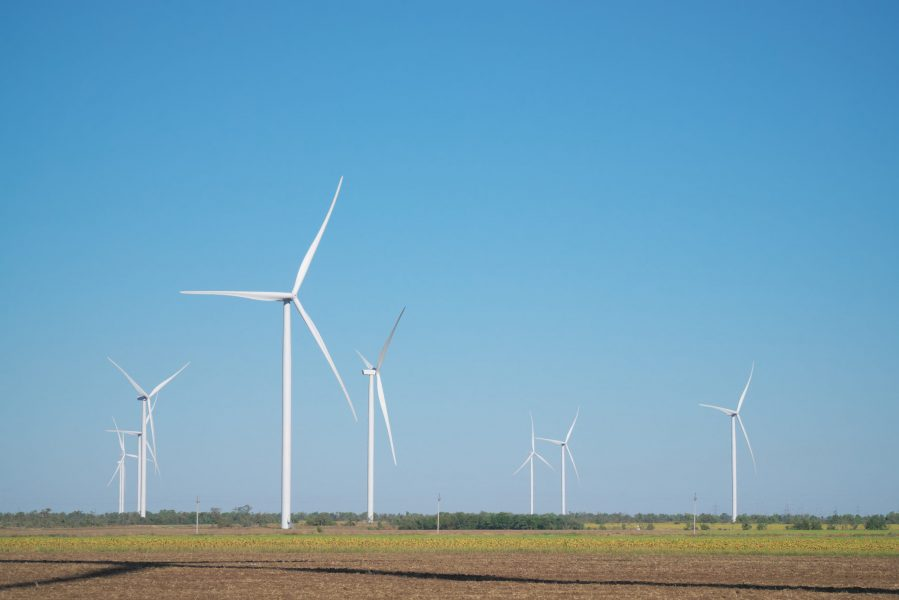 Windmills of electric power production in meadow.
